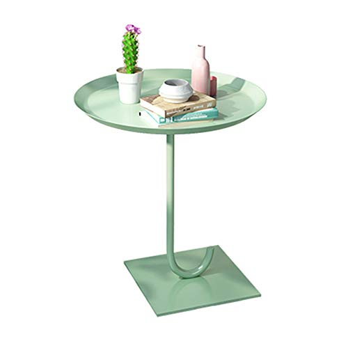 Moderne Ausdrücke Beistelltisch (QULONG Runder Beistelltisch, Coffee End Lamp Table, Metall, Abnehmbare Abgerundete Ecken, Für Wohnzimmer/Balkon,Green)