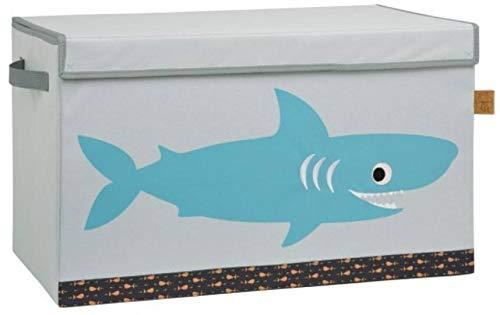 Lässig Storage Toy Trunk Aufbewahrungsbox mit Deckel für Kinderzimmer, Shark ocean