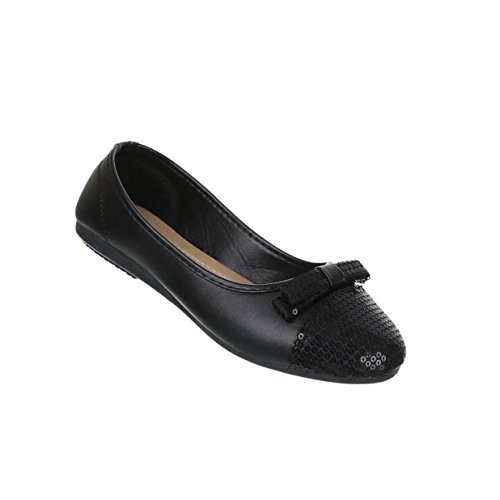 Damen Schuhe Ballerinas Pailetten Besetzte Pumps Schwarz