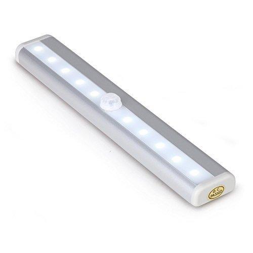 Glühlampen-schiene Leuchte (10LEDs PIR Motion Sensor Wireless Licht mit Magnet Strip für Schrank Schrank Schrank Kleiderschrank Treppe Home Office von trimmen Shop, silber)