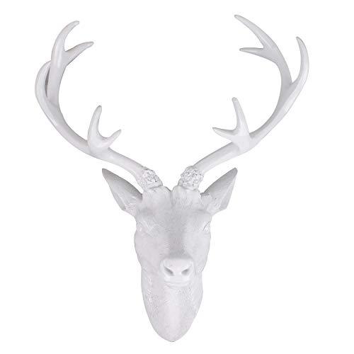 Mojawo Tolles XXL Hirschgeweih Hirschkopf Geweih 10-Ender Weiß Optik 48x32x61cm Figur Skulptur Wohndekoration