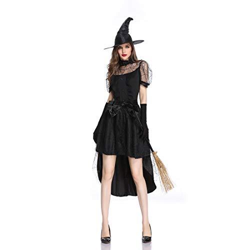 Halloween Hexe Kostüm Erwachsene Cosplay Schwarz Hexe Langen Rock Cosplay Leistung Kleidung Kostümfest Kostüm,Black,M (Mittelalterliches Bankett Kostüm)
