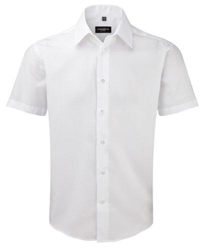 Z959 Bügelfreies tailliertes Hemd Kurzarm, Farbe:White;Größen:S (37/38) (Hemd Baumwoll-twill Damen)