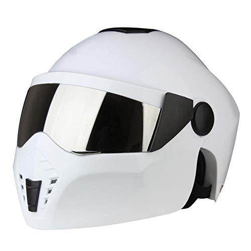 Motorradhelm Modularhelm Integralhelm Doppelvisier Retro, weiß_L