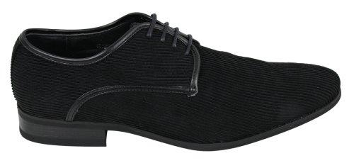 Chaussures homme velours côtelé noir marron bleu marine avec lacets doublure cuir Noir