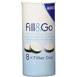 BRITA Fill&Go Disques de Filtre à Eau de Rechange, Lot de 8 (Ne Rentre pas dans les Bouteilles Fill & Go Vital)