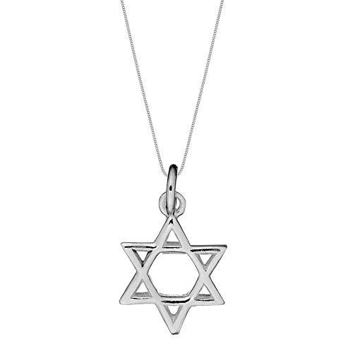 Silverly Collar Colgante Estrella de David Belen Hexagrama Mujer Plata de Ley Esterlina .925, 46 cm