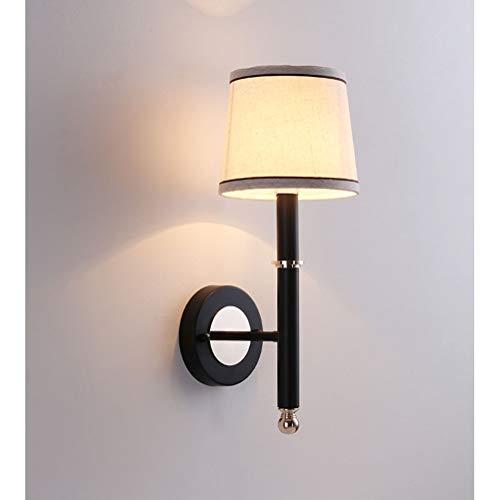 Wandleuchte Innen Wandlampen Nachttischlampe Modern Klassisch Stil Schwarz Stoffschirm Gang Schlafzimmer Loft Beleuchtung Durchgang Wohnzimmer Kreative Leinen Schmiedeeisen Rund Dekorative Lichter E27