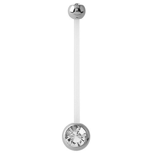 Pregnancy Maternity PTFE and Surgical Steel Double Jewel Belly Button Navel Bar. Size 1.6mm gauge, 50mm length, Crystal Clear gems. Stud Ring Piercing Jewellery. TDi Jewellery Sizing Card included.