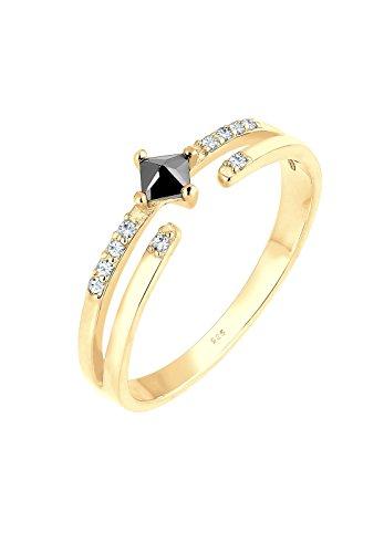 Elli Damen-Ring Microsetting 925 Silber Zirkonia gold Prinzess Gr. 52 (16.6) - 0603943117_52