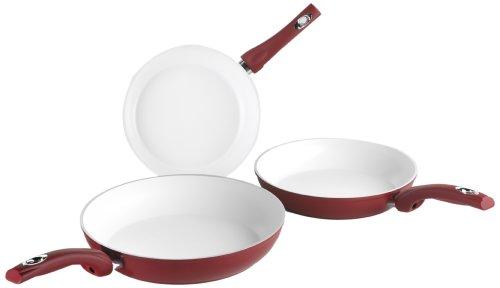 Bialetti Y0CBSET001 3-er Pfannen-Set Ceramic OK, keramikbeschichtet ø 20-24-28 cm, rot