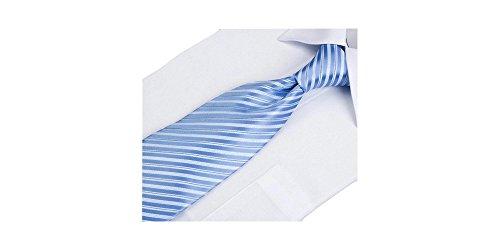 Coffret Alicante - Cravate à rayures blanches, bleu ciel et fil bleu marine, boutons de manchette, pince à cravate, pochette de costume