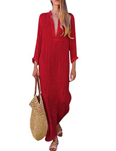 HAHAEMMA Damen Kleider Maxikleid Lose Kleid Langarm Retro Leinen Baumwolle Lange Kleider Elegante Bluse Breite REiläufige Sommerkleider Damen Plus Größe(RE,XL)