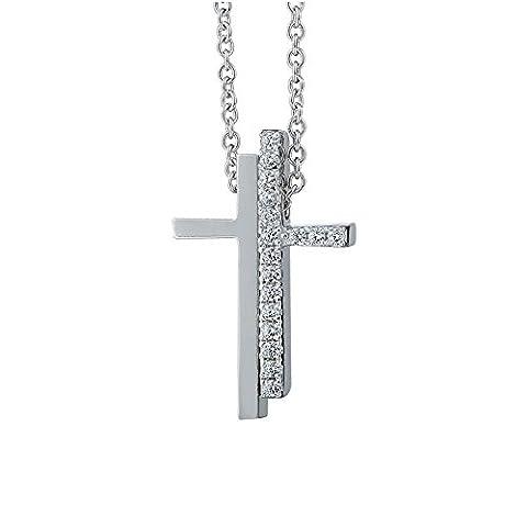 silverage Sterling Silber Zirkonia Kreuz Anhänger Halskette, 40,6cm + 3,3cm