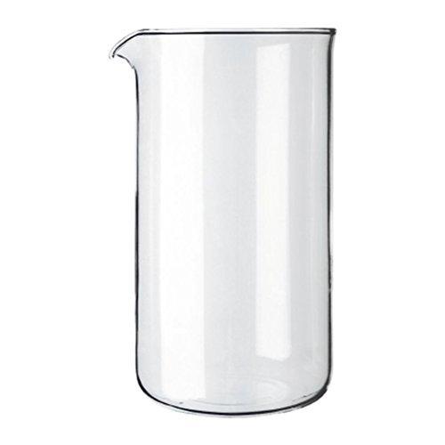 Bodum–Vetro di ricambio antiscivolo con beccuccio–parte di ricambio adatto per stampa francese caffettiera–varie misure 8 Cups Transparent