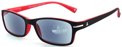 Atlantic Eyewear AE0053 Lesebrille Sonnenbrille Brillen Schwarz und Rot für Männer und Frauen mit Etui (+2.50)