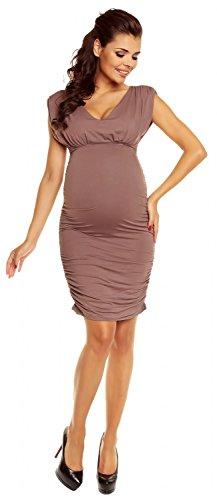 Zeta Ville - maternité - robe grossesse - sans manches - col V - femme - 525c Cappuccino