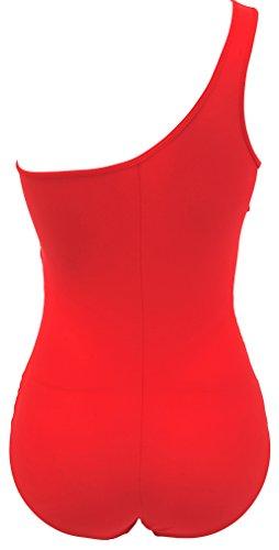TDOLAH Damen One Shoulder Einteilige Gaze Badeanzug Bikini Set rot-4