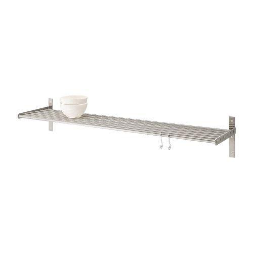 IKEA 6er-Wandregal GRUNDTAL 120cm, Edelstahl