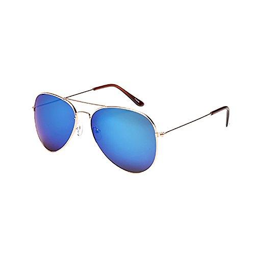 Lazzboy Frauen Männer Vintage Retro Brille Unisex Fashion Oversize Rahmen Sonnenbrille Eyewear Mode Metallrahmen Verspiegelt Linse Herren Damen Mit Frühlings Scharnieren(M)