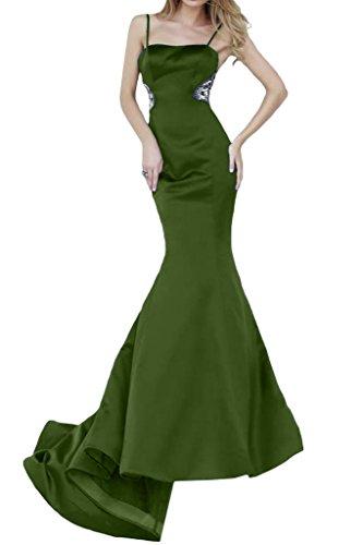 Ivydressing Damen Spaghetti Mermaid Lang Satin Festkleider Promkleid Abendkleid Olivgruen