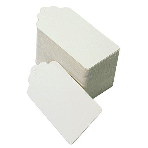 100 Stück Rustikal 40mmx70mm Weiß Geschenk Anhänger Papieranhänger Tags Labels zum Hochzeit Party Etikett Selbstgestalten Preisetiketten Preisschild Schilder Anhänger Kofferanhänger DIY Deko (100)