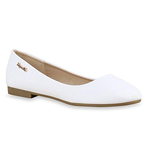 Klassische Damen Strass Ballerinas Elegante Slipper Übergrößen Metallic Glitzer Flats Schuhe 134612 Weiss Gold 40 Flandell