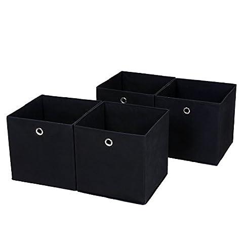 Songmics lot de 4 Boîtes/Tiroirs en Tissu Cube de Rangement pliable coffre pour Linge, Jouets, Vêtement 30 x 30 x 30 cm noir RFB02H-2