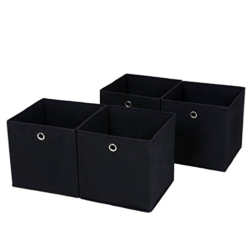 SONGMICS 4 Stück Faltbare Aufbewahrungsbox Faltbox mit Fingerloch 30 x 30 x 30 cm Schwarz RFB02H-2 -
