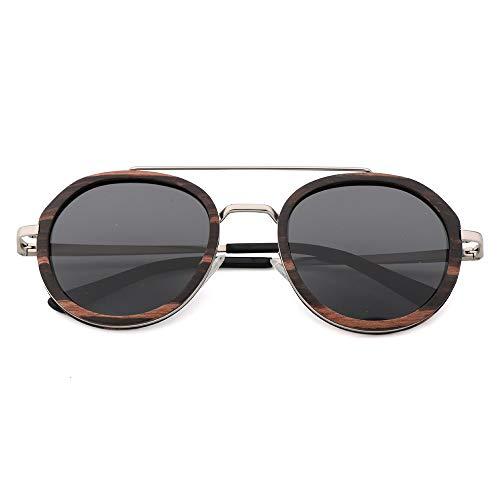 DelongKe Retro Sonnenbrille Rund,Klassisch Oval Ultraleicht Vintage Half Rim Metallgläser UV400 Schutz Für Damen & Herren Autofahren Laufen Radfahren Angeln Golf,Ebony