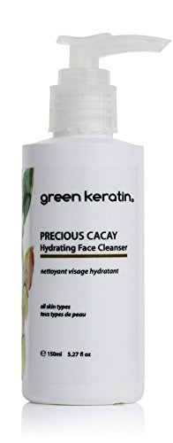 Green keratin precious cacay hydrating facial cleanser. pure plant based cleansing lotion for glowing radiant complexion. professional anti-ageing. soap-free.