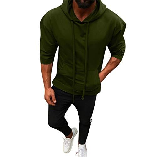 ESAILQ Männer Splicing Button Pullover Kapuzenpullover Mit Sieben Punkten und Ärmeln Tops Bluse (XXX-Large,Grün)