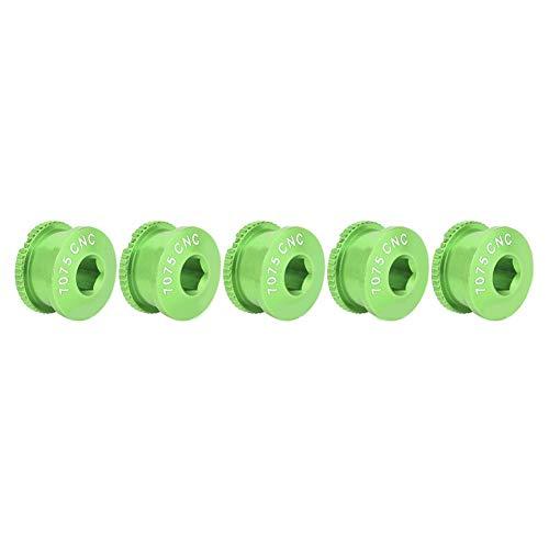 Alomejor Kurbelschrauben Aluminiumlegierung Kurbelgarnitur Einzelne Kettenblattschrauben und Muttern für Einzelne Zahnplatte(Grün) -