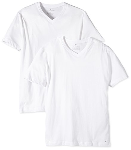 TOM TAILOR Herren T-Shirt Double Pack v-Neck, Weiß (White 2000), Large
