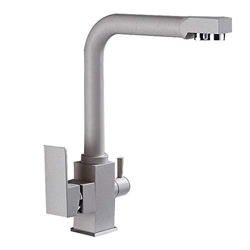 2 Granit-beige 3-wege-wasserfilter Küchenarmatur 360° Schwenkbar Küche Wasserhahn Hebel Mischbatterie Spültischarmatur Spüle Armatur (Color : Oatmeal) (Granit-spüle Copper)