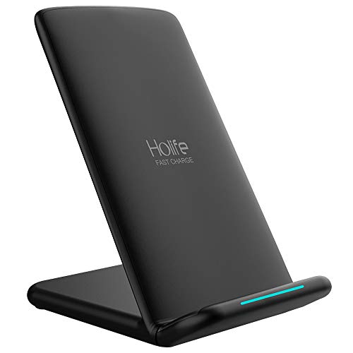 Holife Fast Wireless Charger, 10W Qi Fast Charger Stand for Galaxy S8/S8+/S9/S9+/Note 8/ 9/ S7/S7 Edge/S6/S6 Edge+, Standard Charger for iPhone XS/X/XS Max/XR/8/8 Plus(Black)