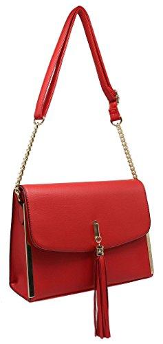 CRAZYCHIC - Borsa a tracolla donna - Oro Tracolla Catena - Patta con Pompon - Borsa a spalla imitazione pelle - Clutch moda tendenza comoda Rosso