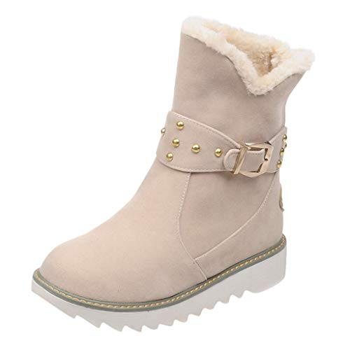 MOTOCO Damen Stiefel Winter Warme Plüschknopf Flache Flache Schneeschuhe Slip-on Ankle Bare Baumwolle Stiefeletten(38 EU,Beige) -