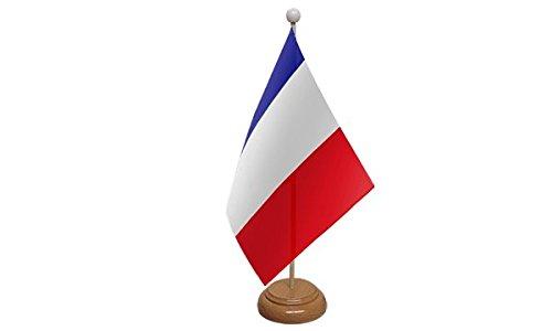 22,9 x 15,2 cm France Français tricolore Drapeau Grande table de bureau avec base en bois et Pole Idéal pour les conférences de fête Bureau écran