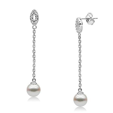 Alida Valli–Luxueux Long Pendentif en forme AAA Perle d'eau douce Boucles d'oreilles