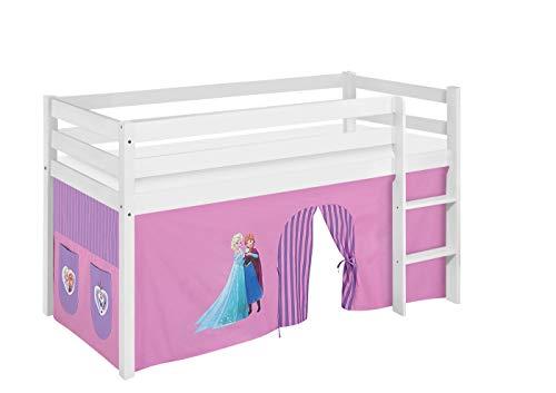 Lilokids Spielbett Jelle Eiskönigin, Hochbett mit Vorhang Kinderbett, Holz, lila, 208 x 98 x 113 cm (Mit Hochbett Vorhang)