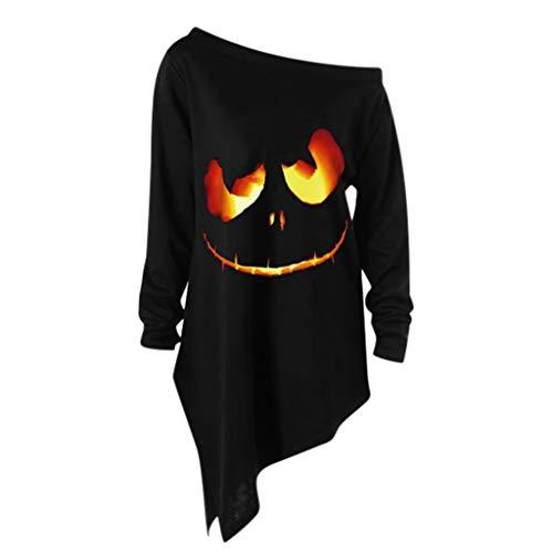 Von Kostüm Braut Sexy Chucky - GOKOMO Halloween Weihnachten Kostüm, Halloween Weihnachten Langarm Ghost Print Sweatshirt Pullover Tops Frauen lose beiläufige asymmetrische Bluse T Shirt Tops(Schwarz,XXX-Large)