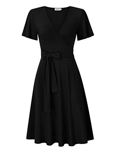 Clearlove Damen Kleid Business Kleid Knielang Wickelkleid, 3/4 Arm mit V-Ausschnitt und Gürtel,Schwarz,M