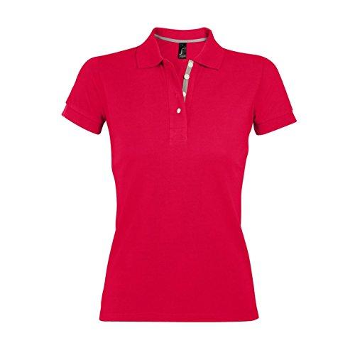 SOLS Damen Portland Pique Polo-Shirt, Kurzarm Schwarz