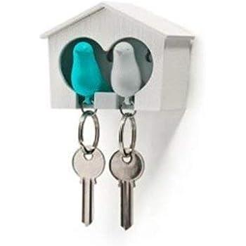 A White House with Blue Bird Unbekannt Qualy Mini Sparrow Keyring Keyholder