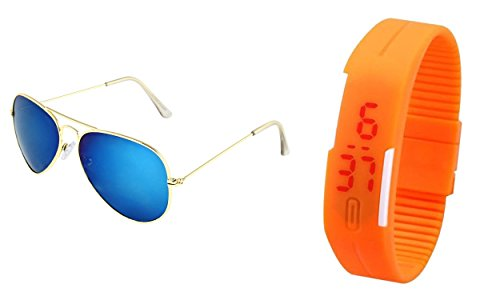 Sheomy Combo of Golden Blue Aviator Sunglass and a LED Digital Orange dial Watch with Magnet Lock (LED-069)