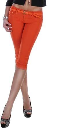 Damen Stretch Caprihose mit Gürtel in Flechtoptik in 10 Farben Hüftjeans Damenjeans Damenhose Caprijeans Shorts Damen Capri Jeans Hose 36 S Orange