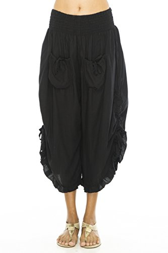 Back From Bali Damen Hose Opaque Gr. L/XL, schwarz (Plus Gauchos Size)