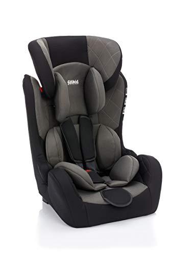 Fillikid Autositz Gruppe 1/2/3 mit Isofix I mitwachsender Kindersitz Gruppe 1/2/3 Autositz (9-36kg) I Kinderautositz ab ca. 12 Monate bis 12 Jahre, Design:grau