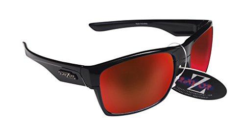 RayZor Professional leichte UV400schwarz Sports Wrap Archery Sonnenbrille, mit einem roten Iridium verspiegelt Blendfreie Objektiv